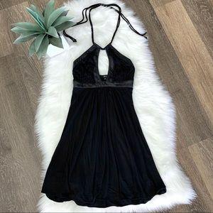 Sky Halter Black Leather Faux Trim Mini Dress XS